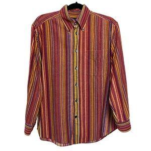 NorthernIsland Retro 70s Striped Red Button Shirt